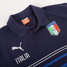 Polos / Short Sleeve: Puma Figc Italy 2014 Leisure Hooped Polo 744274-03 - 2014 Blue Clothing Football Italy