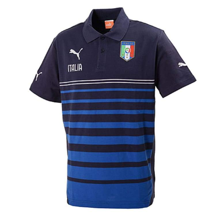 Polos / Short Sleeve: Puma Figc Italy 2014 Leisure Hooped Polo 744274-03 - Puma / Xs / Blue / 2014 Blue Clothing Football Italy |