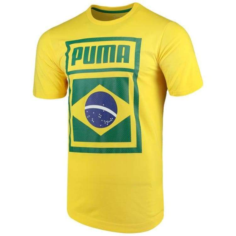 Tees / Short Sleeve: Puma Forever Football Country Cotton Tee Brazil 752649-09 - Puma / Xs / Yellow / 2018 Fifa World Cup 2018 World Cup