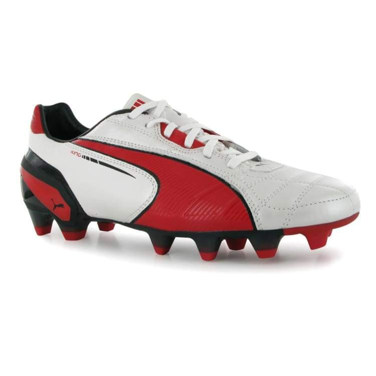 Cleats / Soccer: Puma King Fg Metallic White-High Risk Red-Black 102669-06 - Us: 8.0 / Puma / White/red / Cleats Cleats / Soccer Football