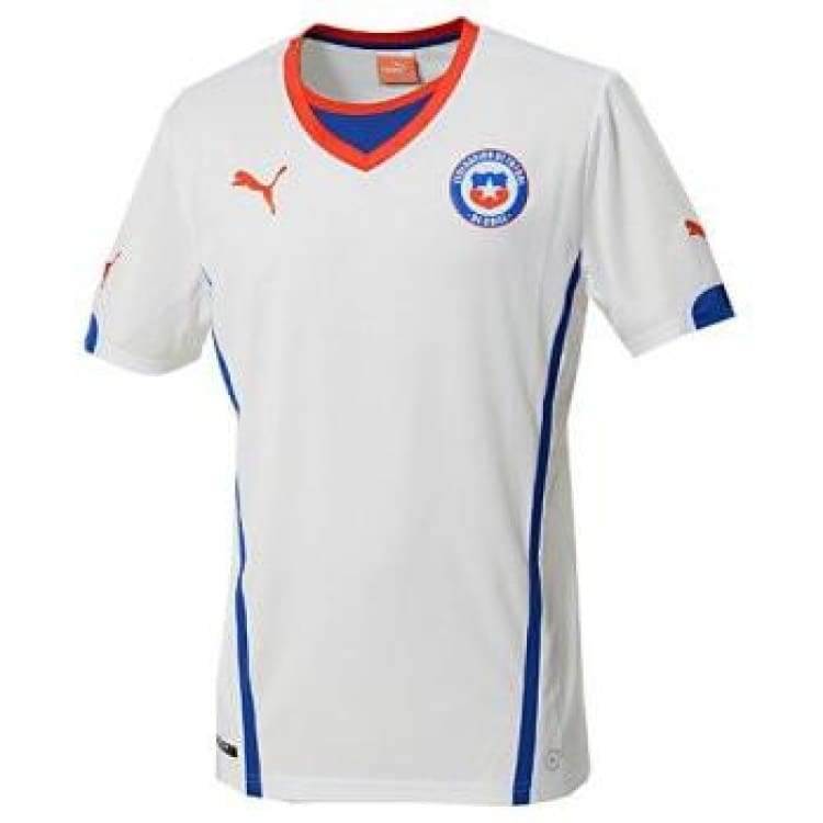 Jerseys / Soccer: Puma National Team 2014 World Cup Chile (Away) S/s Jersey 744503-06 - S / White / Puma / 2014 Away Kit Chile Clothing