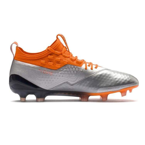 Cleats / Soccer: Puma One 1 Leather Fg/ag 104735-01 - Puma / Uk: 7.5 / Silver/orange / Cleats / Soccer Football Footwear Land Mens |