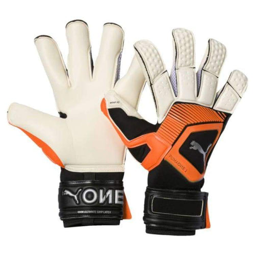 Gloves & Mittens / Soccer: Puma One Grip 1 Hybrid Pro Goalkeeper Gloves 041469-01 - Puma / 7 / White/orange / Accessories Gloves Gloves &