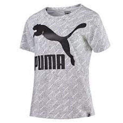 Tees / Short Sleeve: Puma Womens Aop Logo Tee 572274-02 - Puma / S / White / Clothing Football Land Puma Running | Ochk-Sfalo-572274-02-1