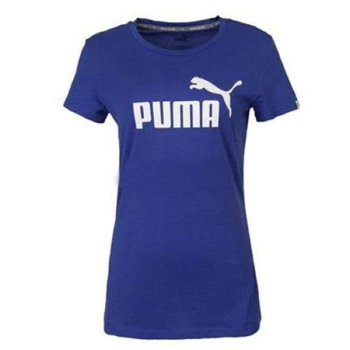 Tees / Short Sleeve: Puma Womens Ess Logo Tee 590363-21 - Puma / S / Blue / Blue Clothing Football Land Puma | Ochk-Sfalo-590363-21-1