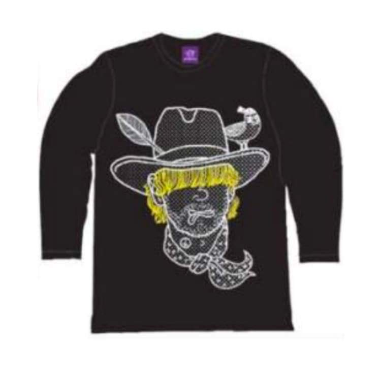 Tees / Long Sleeve: Purplecow Cowboy Tall Tee - 2Color - Purplecow / Black / S / Black Clothing Ice & Snow Mens On Sale |