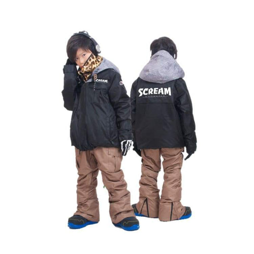 Jackets / Snow: Scream Kids Ski & Snowboard Unisex Jacket [Blk]+Pants Set [Kha] [Kd-08] - Clothing Fun Factory Jackets Jackets / Snow Kd-05
