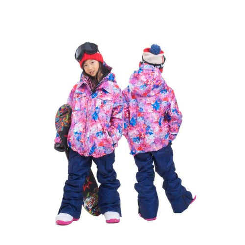 Jackets / Snow: Scream Kids Ski & Snowboard Unisex Jacket [Flw]+Pants Set [Nav] [Kd-06] - Clothing Fun Factory Jackets Jackets / Snow Kd-05