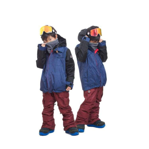 Jackets / Snow: Scream Kids Ski & Snowboard Unisex Jacket [Nav]+Pants Set [Burg] [Kd-07] - Clothing Fun Factory Jackets Jackets / Snow Kd-05