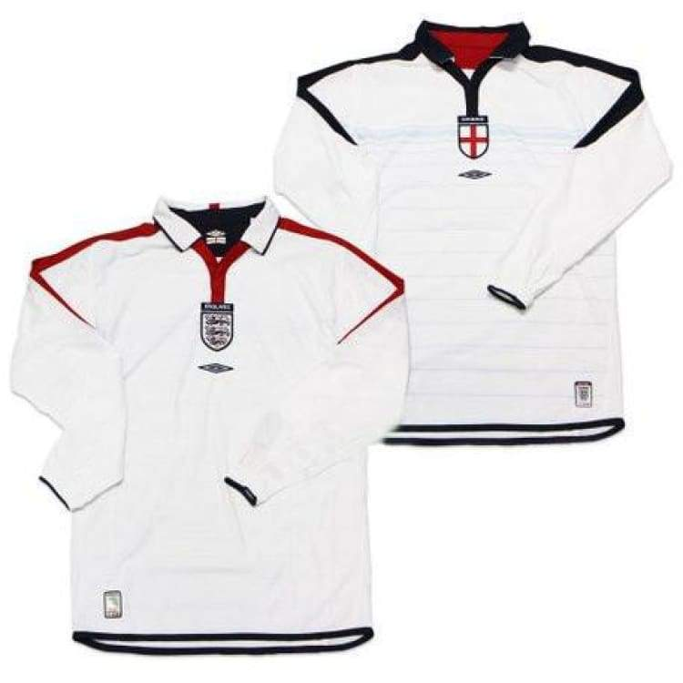 Jerseys / Soccer: Umbro National Team 2003 England (H) L/s Jersey - Xl / White / Umbro / 2003 Clothing England Football Home Kit |