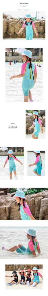 Barrel (Aa) Kids 1mm Neoprene Spring Suit-MINT/PINK