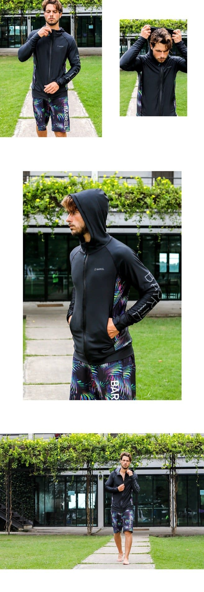 BARREL MENS TULUM ZIP-UP HOODIE RASHGUARD - BLACK/FOREST [KOREAN BRAND]