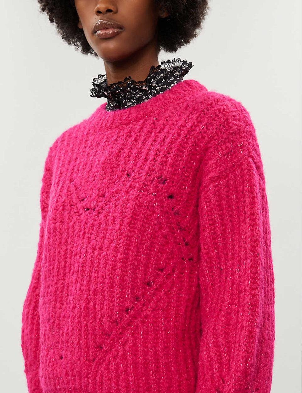 Heart-motif chunky stretch-knit jumper