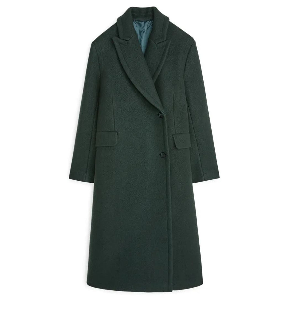 Double-Breasted Wool Coat, Green