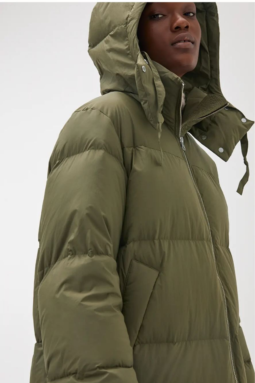 Down Puffer Coat, Green