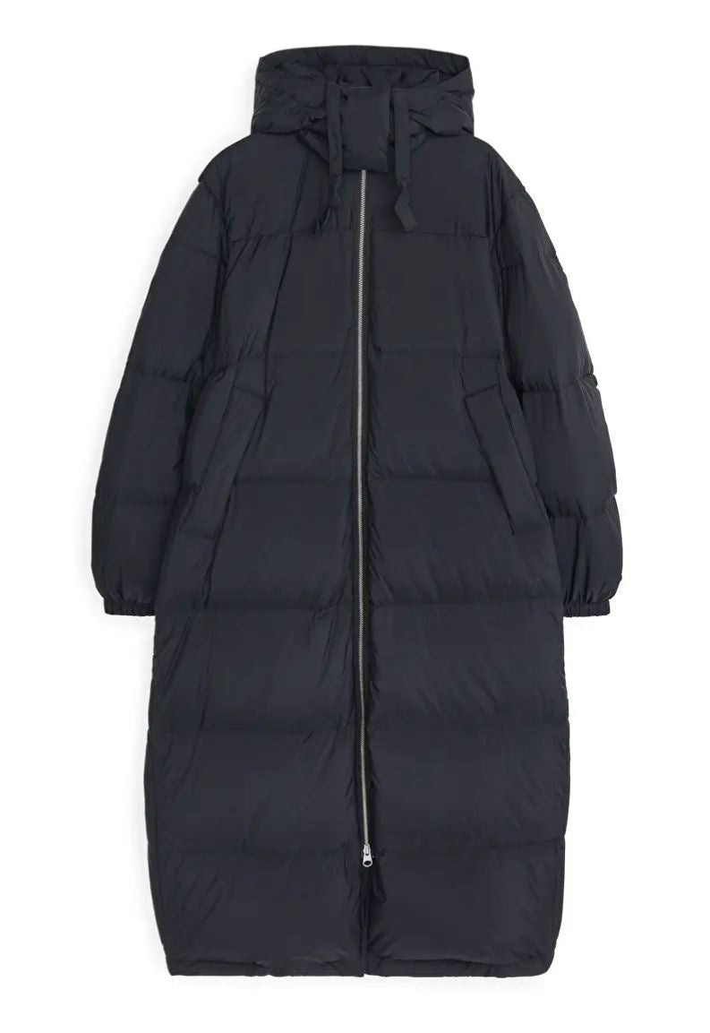Down Puffer Coat, Black