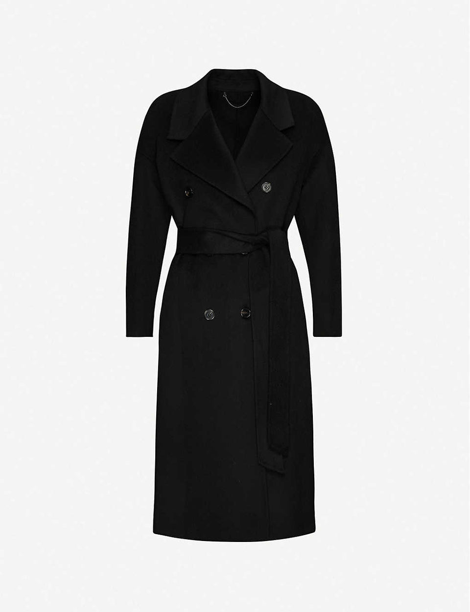 Maddison tie-belt wool-blend coat, Black