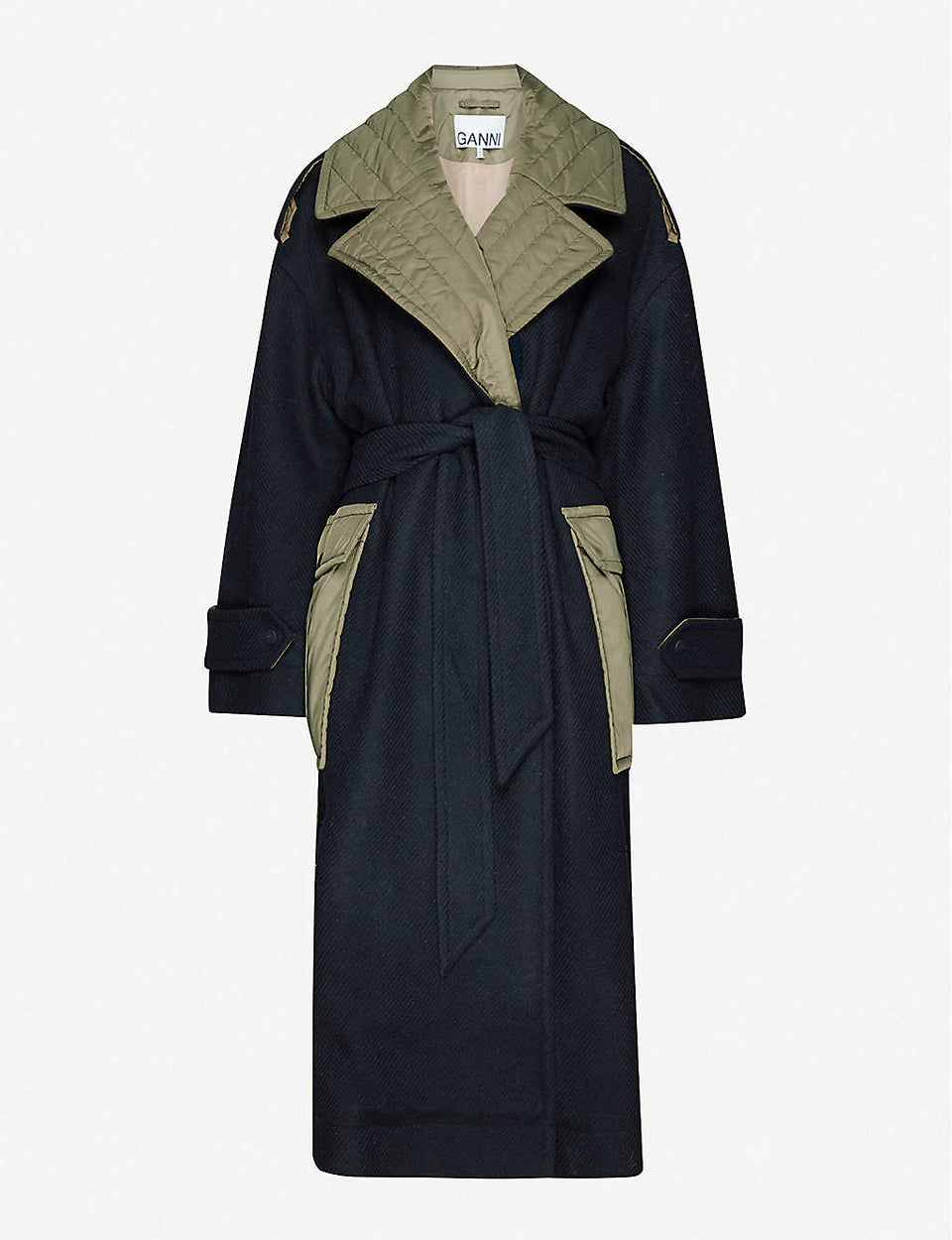 Contrasting panel belted wool-blend coat
