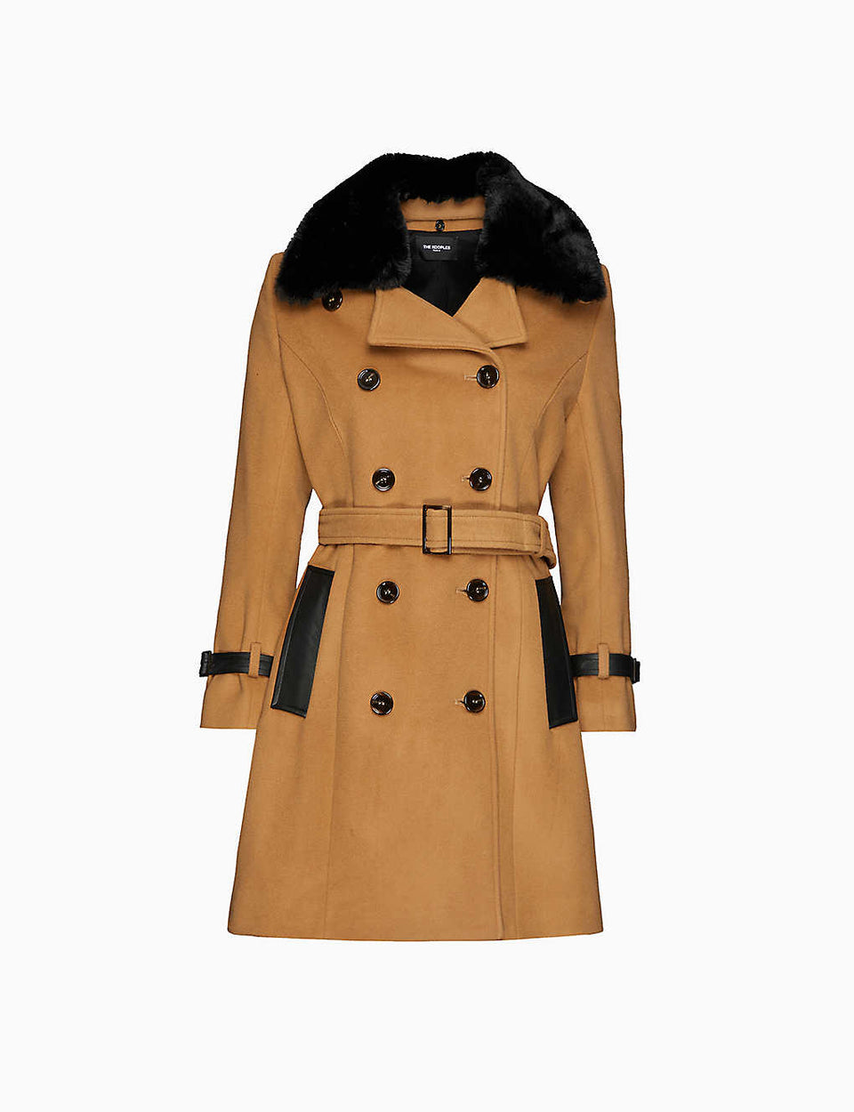 Faux-fur collar wool-blend coat