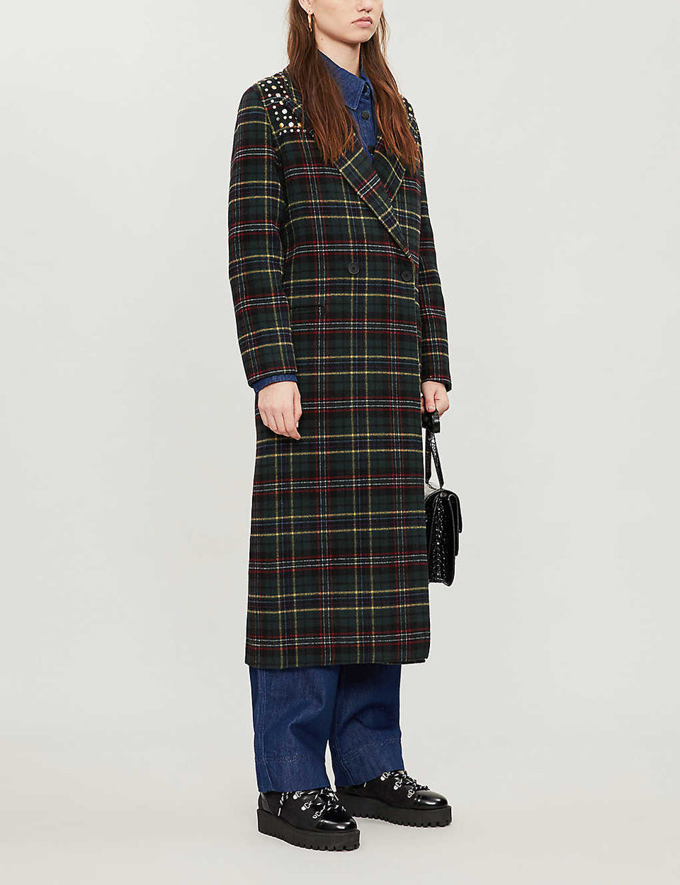 Checked embellished wool-blend coat