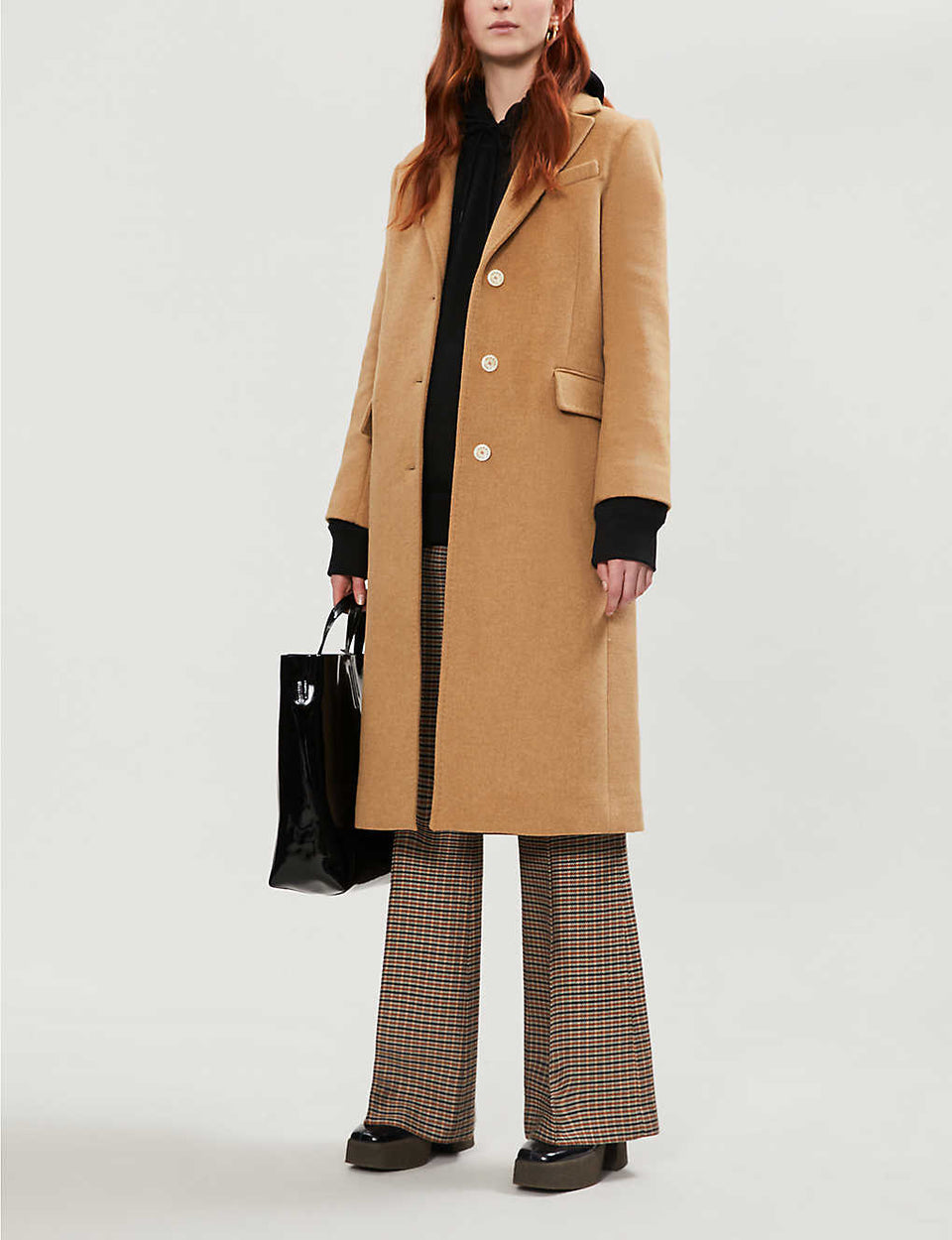Tie-belt wool-blend coat