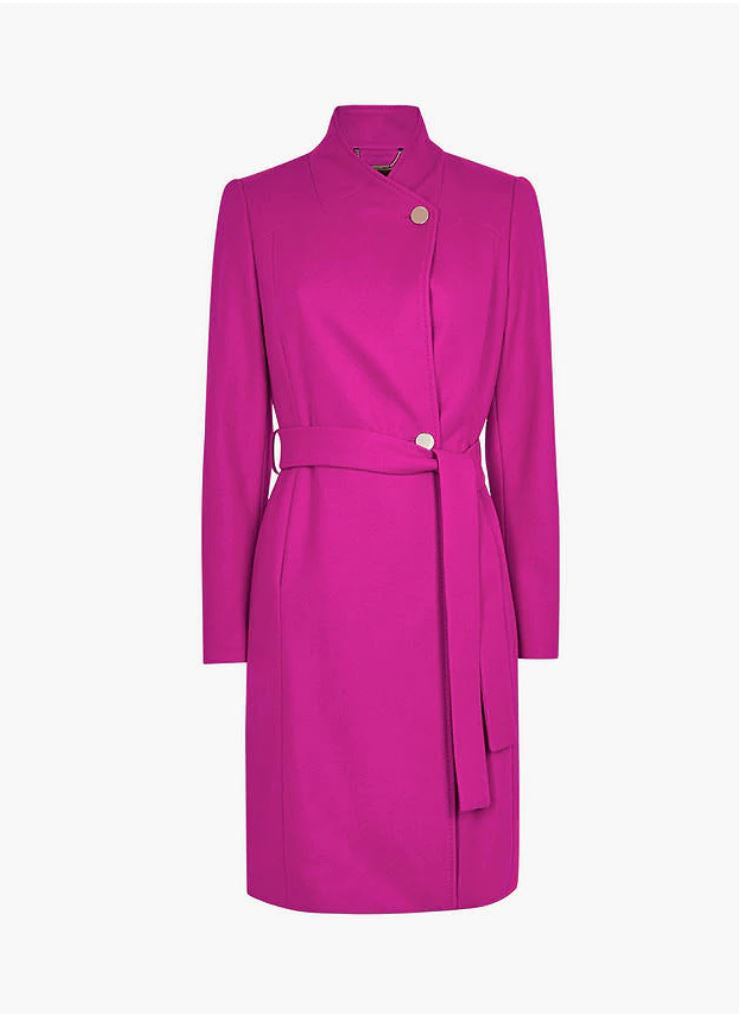 Skyyler Belted Wool Cashmere Coat, Hot Pink