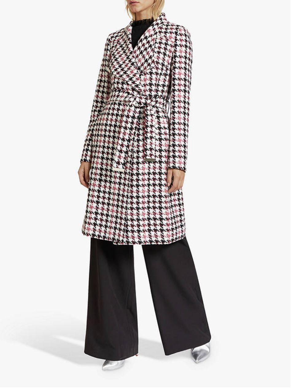 Abellaa Houndstooth Belted Coat, White