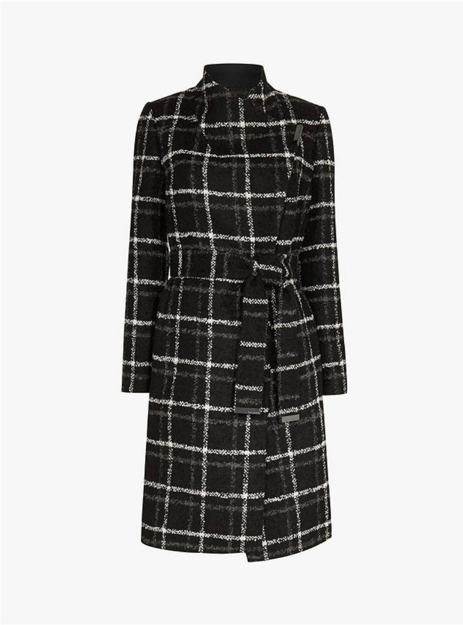 Rosylin Checked Belt Wrap Coat, Black