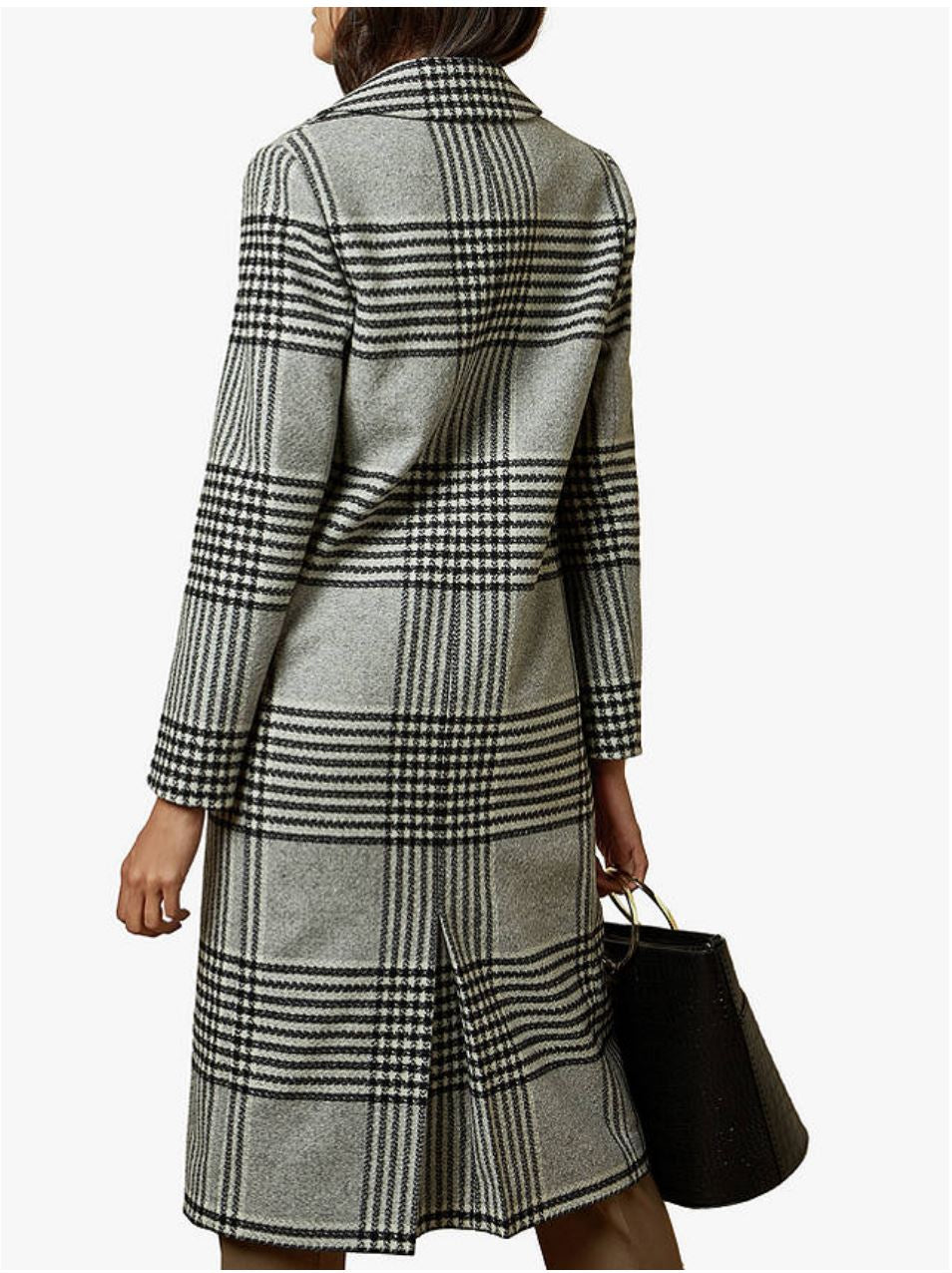 Celinna Check Coat, Black