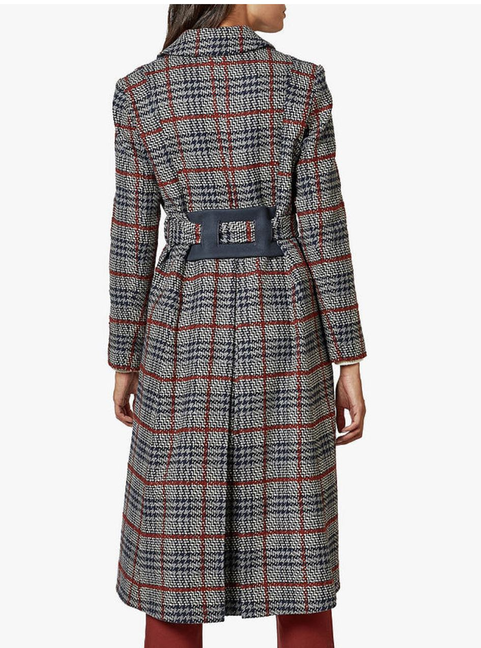 Bijour Long Check Belted Coat, Navy