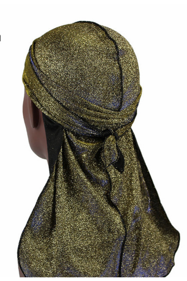 Unisex Shiny Silk Durag w/ Long Tail-yellow+black gold