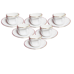 White Face Gold Line Cup and Saucers Set