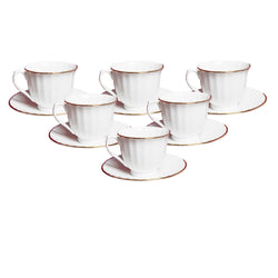 White Classic Gold Line Cups and Saucers