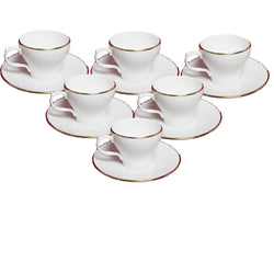 White Liza Gold Line Cup and Saucers