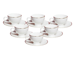 White Yana Gold Line Cup and Saucers