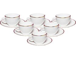 White Rani Gold Line Cup and Saucers