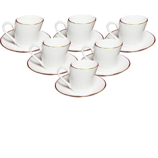 White Lara Gold Line Cup and Saucers