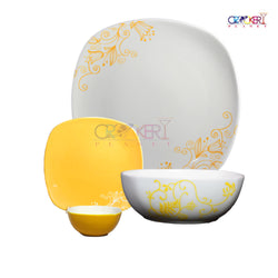 CROCKERYPLANET  Fine Bone China Square Dinner Set 20 Pcs.
