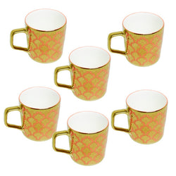 Clay Craft Director Orange Gold Premium Mug Set of 6 Pcs.