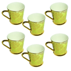 Clay Craft Gold Parrot Green Cup Set of 6 Pcs.