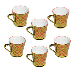Clay Craft Premium Gold Orange Mug Set of 6 Pcs.