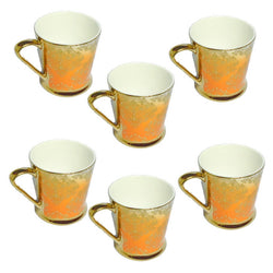 Clay Craft Ebony Gold Orange Mug Set of 6 Pcs.