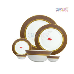 CROCKERYPLANET SOVARNA EMPRESS BROWN 33 PCS DINNER SET