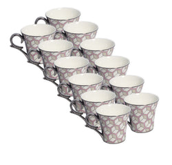 Clay Craft Silver Pink Premium Cup Set of 6 Pcs.