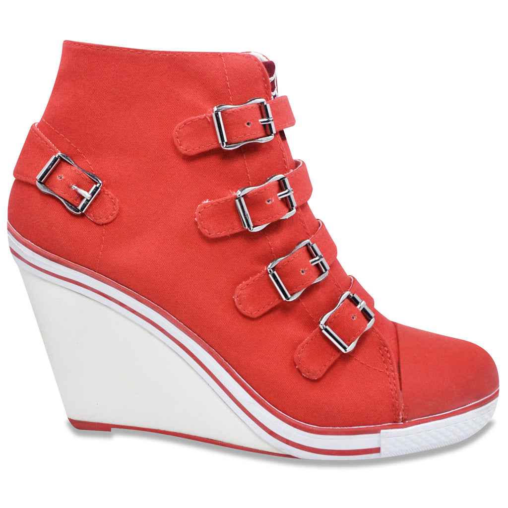 Buckled Sneaker Wedge Pump in Coral (Canvas)