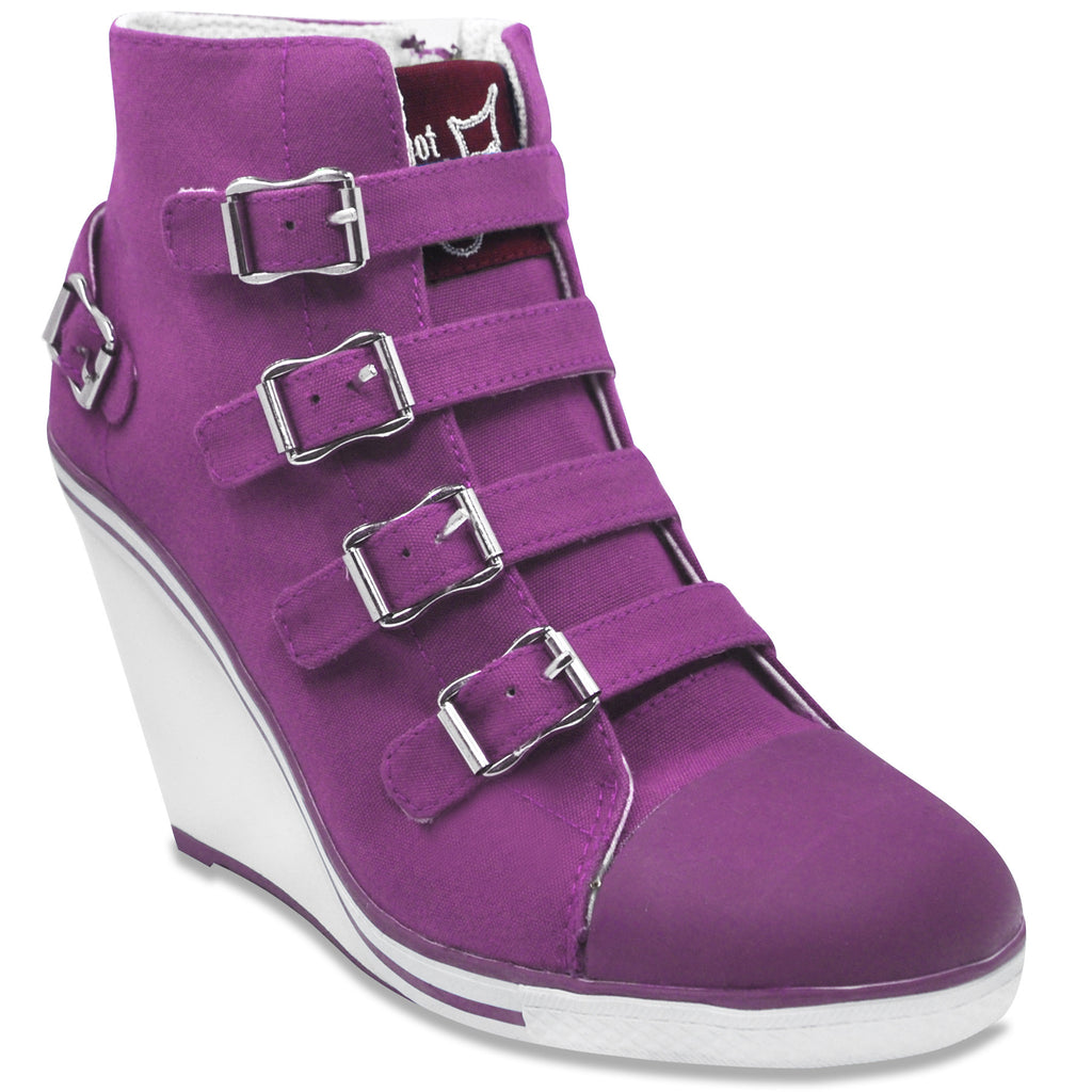 Buckled Sneaker Wedge Pump in Lilac (Canvas)