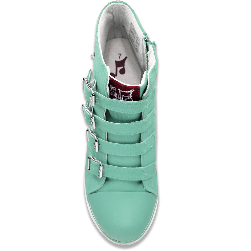 Buckled Sneaker Wedge Pump in Mint (Canvas)