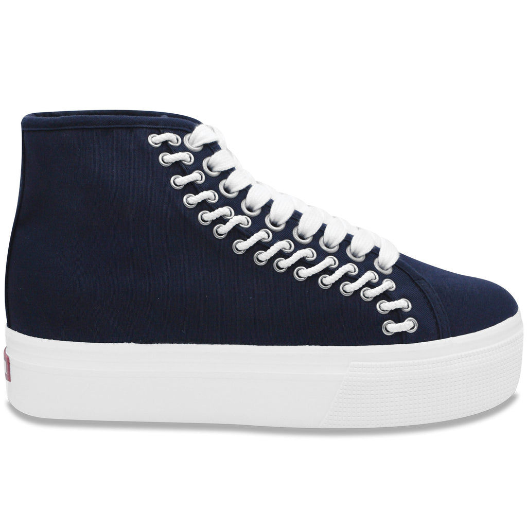 Lacey Platform Hightop in Navy (Canvas)