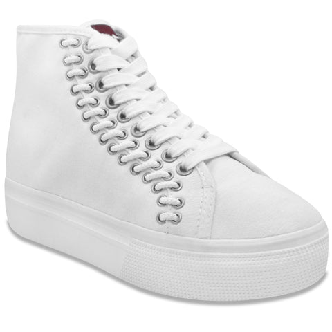 Lacey Platform Hightop in White (Canvas)