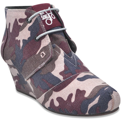 Lace up Wedge  in PINK Camo (Canvas)